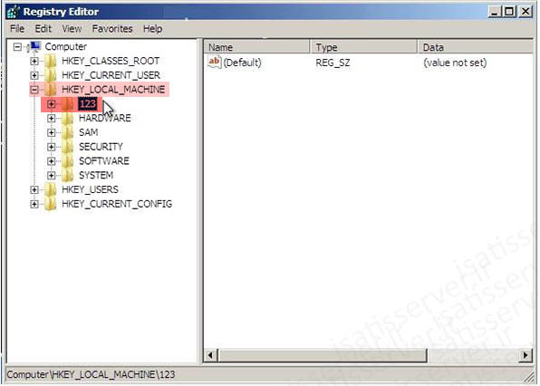 011 reset pass regedit open key isatisserver